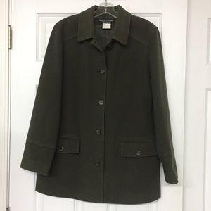 Olive green wool cashmere blend vintage coat Sz 12